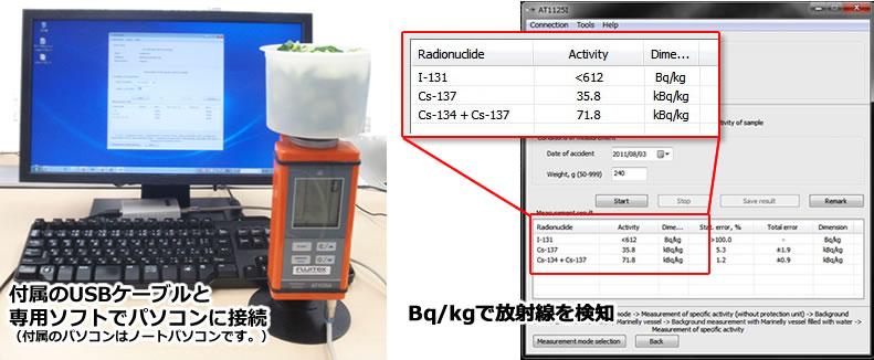 パソコンと接続し、食品の放射線をBq/kgで検知